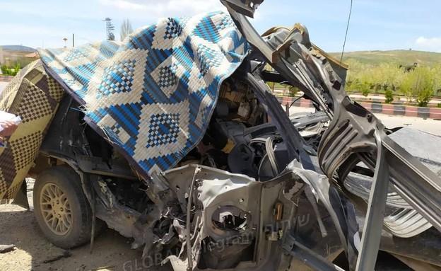 כלי רכב של חיזבאללה שהופצץ בגבול לבנון-סוריה