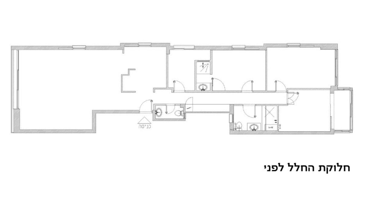 דירה בתל אביב, עיצוב סטודיו b6, תוכנית אדריכלית לפני