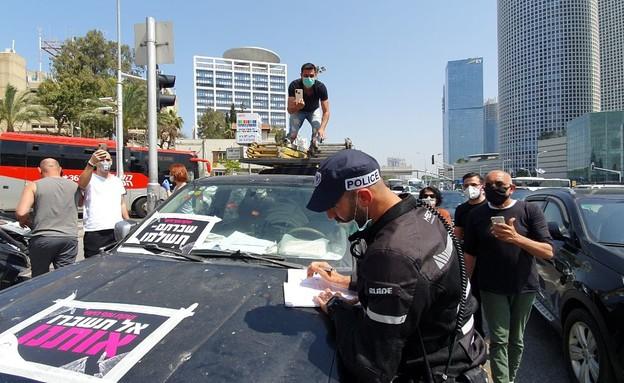 הפגנת עצמאים בתל אביב (צילום: N12)