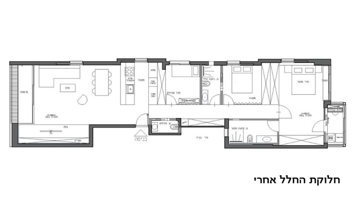1 - דירה בתל אביב, עיצוב סטודיו b6, תוכנית אדריכלית אחרי