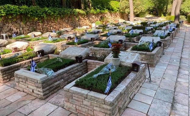 החלקה הצבאית בהר הרצל ביום הזיכרון 2020