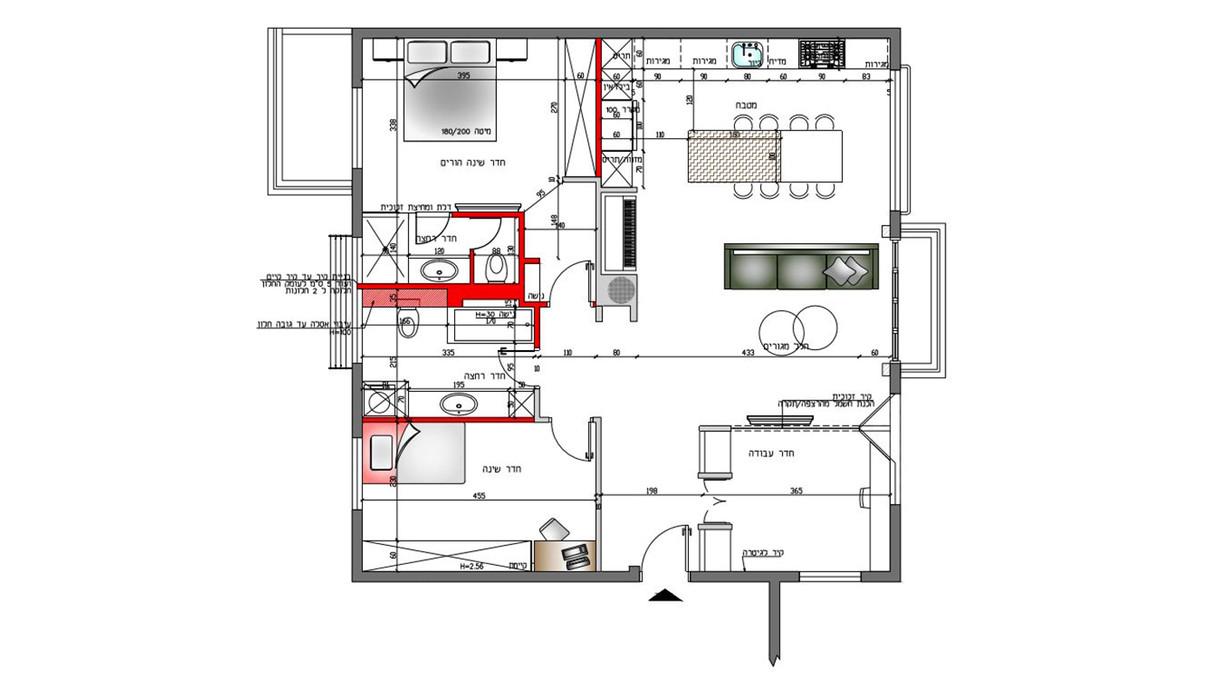 דירה בתל אביב, עיצוב שירי הלר שוורץ, תוכנית אדריכלית אחרי השיפוץ