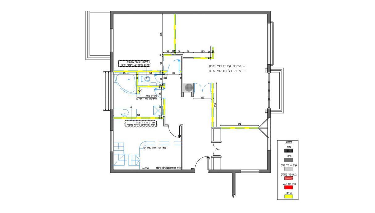 דירה בתל אביב, עיצוב שירי הלר שוורץ, תוכנית אדריכלית לפני השיפוץ