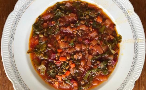 תבשיל עדשים שחורות של אורנה ואלה (צילום: אורנה אגמון ואלה שיין , אוכל טוב)