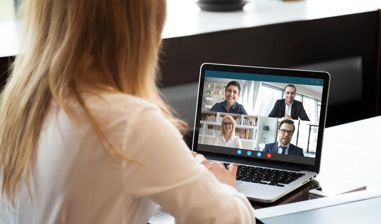 אשת עסקים מדברת עם קולגות בשיחת וידאו (אילוסטרציה: fizkes, shutterstock)