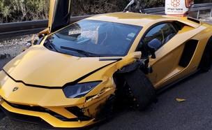 רכב הלמבורגיני שנפגע בתאונה (צילום: דוברות כבאות והצלה)