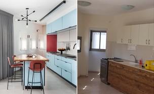 דירה בתל אביב, עיצוב יעל שביט, קולאז' (צילום: לפני: יעל שביט, אחרי: אורית ארנון)
