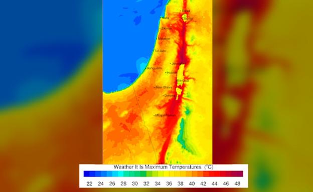 מפת טמפ' מקסימום ב-17.05 (צילום: weather it is)