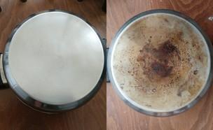 סיר מלוכלך לפני ואחרי (צילום: ביתי)