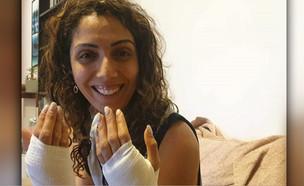 """מעיין פרתי נפצעה בתאונת קורקינט (צילום: מתוך """"חדשות הבוקר"""" , קשת 12)"""