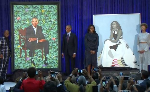 הנשיא ברק אובמה ורעייתו מישל בטקס חשיפת הדיוקן