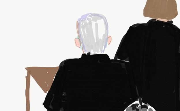 איורי ראש הממשלה נתניהו בבית המשפט (צילום: מיטל שפירו)