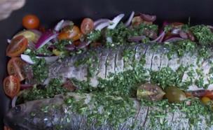 """דג בורי צלוי (צילום: """"ישראל מבשלת יחד"""" ספיישל שבועות, קשת 12)"""