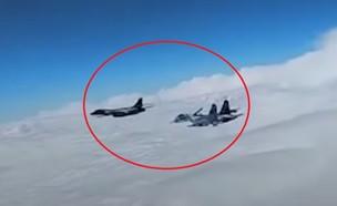תקרית אווירית חריגה (צילום: משרד ההגנה הרוסי, יוטיוב)