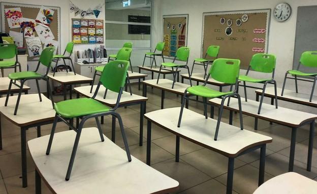 כיתה מוכנה לקראת התלמידים בבית הספר (צילום: עיריית חולון)