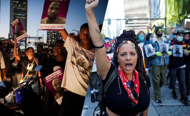 """מחאת יוצאי אתיופיה לצד המחאה בארה""""ב (עיבוד:  הדס פרוש, נועם רבקין פנטום, פלאש90, פלאש 90, רויטרס)"""