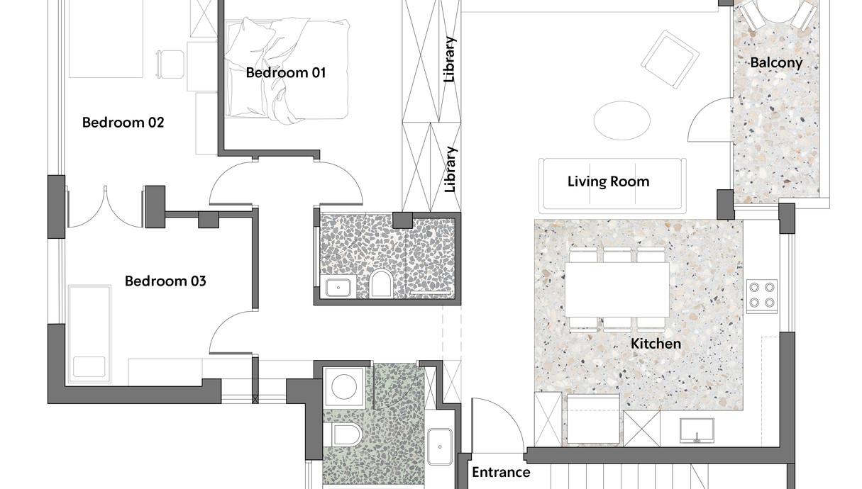 דירה בתל אביב, עיצוב יונתן קנטי ושרון ברקת, תוכנית אדריכלית