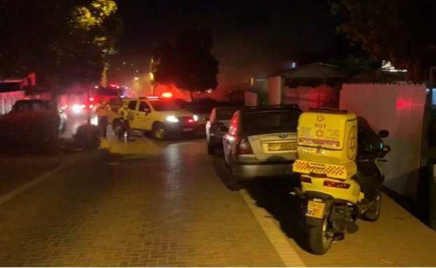 """מקום השרפה ברחובות (צילום: קבוצת בט""""ש וחירום)"""