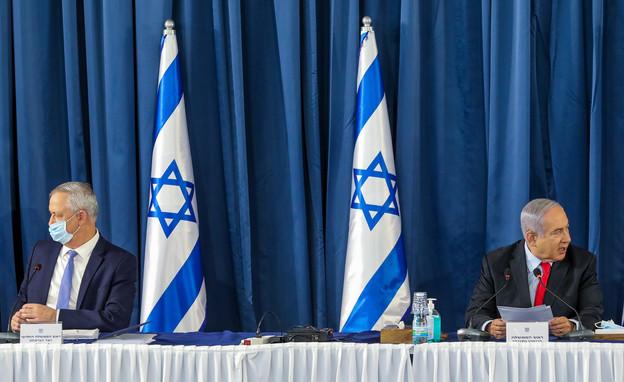 ביבי נתניהו ובני גנץ, פגישת הקבינט בירושלים (צילום: מארק ישראל סלם, פלאש 90)