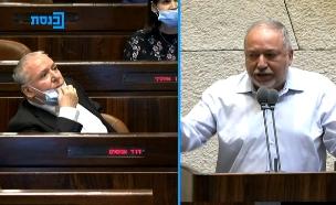 עימות בין אביגדור ליברמן לדודי אמסלם במליאת הכנסת (צילום: ערוץ הכנסת)
