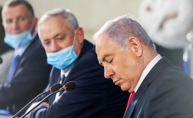 ביבי נתניהו ובני גנץ, פגישת הקבינט בירושלים, נתניה (צילום: מארק ישראל סלם, פלאש 90)