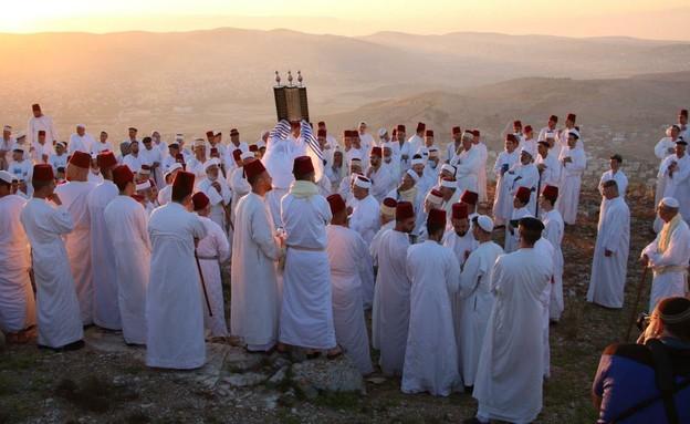 טקס שבועות של השומרונים בהר גריזים (צילום: רני ברכה)