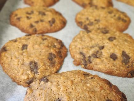 נועה מכינה עוגיות שוקולד צ'יפס שיבולת שועל (צילום: פרטי)