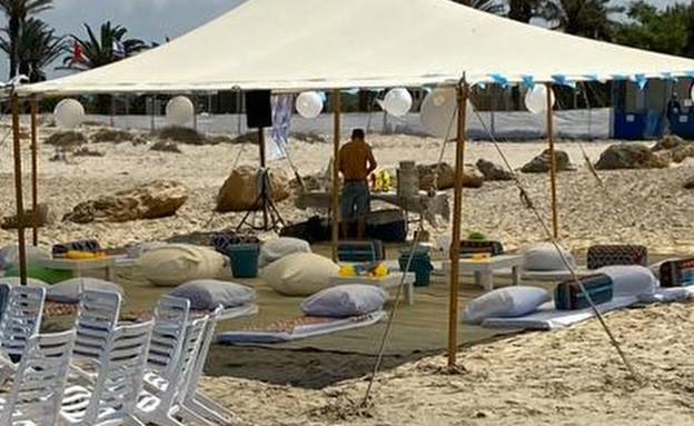 גל גדות במשחק מטקות בחוף דור EXT3 (צילום: ערב טוב עם גיא פינס, קשת 12)