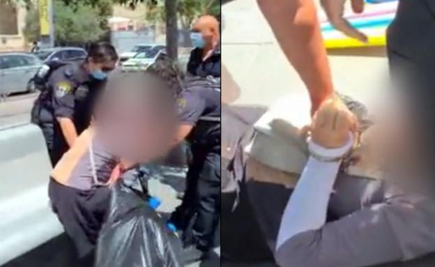 תיעוד: שוטרות גוררות אישה שלא עטתה מסכה כנדרש