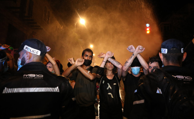 ההפגנות בבלפור  (עיבוד: אוליבייר פיטוסי, פלאש 90)