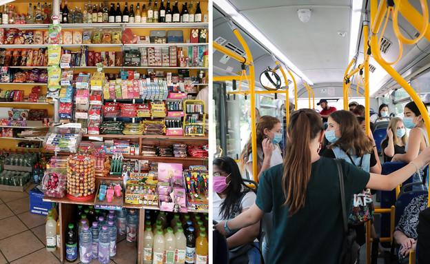 נדבקים מסתובבים באוטובוס ובמכולת  (צילום: יוסי זמיר לפלאש 90, משה שי)
