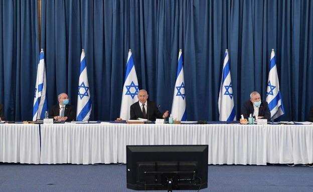 ראש הממשלה נתניהו בישיבת קבינט הקורונה (צילום: עמוס בן גרשום, לע