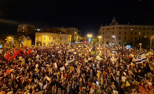הפגנות בבלפור (צילום: N12)