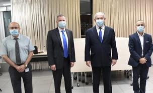 גמזו, נתניהו, אדלשטיין ולוי במשרד הבריאות (צילום: קובי גדעון , לעמ)