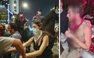"""אלימות בהפגנה בת""""א (צילום: מרים אלסטר, פלאש 90)"""