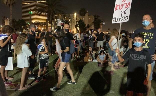 מפגינים בגן צ'ארלס קלור