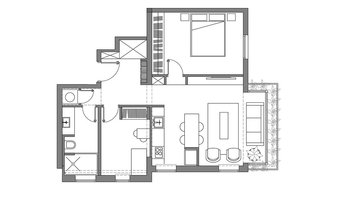 דירה בתל אביב, עיצוב שיר מרגולין, תוכנית הדירה