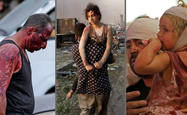 פיצוץ בביירות, לבנון (צילום: ANWAR AMRO AFP, IBRAHIM AMRO AP, Hassan Ammar AP)