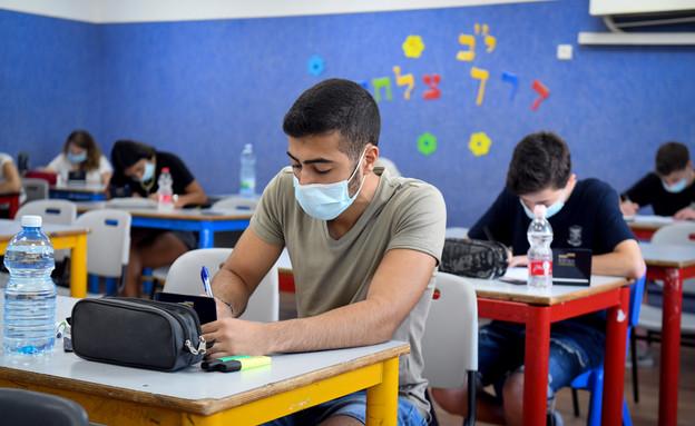 בגרות בתיכון יהוד בתקופת הקורונה (צילום: יוסי זליגר, פלאש 90)