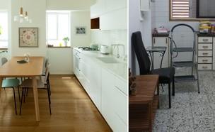 דירה בתל אביב, עיצוב שיר מרגולין, לפני אחרי (צילום: לפני: שיר מרגולין, אחרי: גדעון לוין)