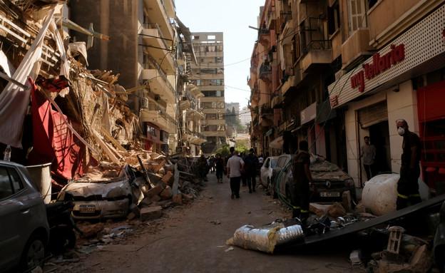לבנון פיצוץ רחוב הרוס (צילום: רויטרס)
