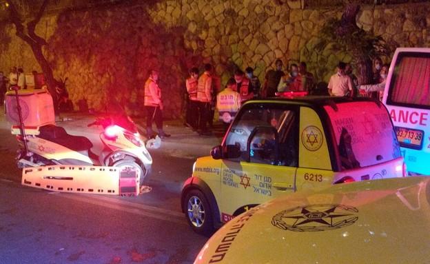 תאונה בשכונת רמות בירושלים (צילום: מד