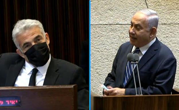 בנימין נתניהו ויאיר לפיד במליאת הכנסת (צילום: ערוץ הכנסת)