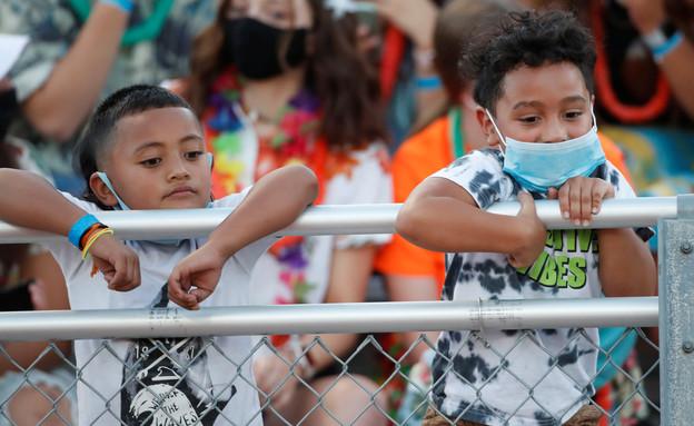 """ילדים קורונה ארה""""ב (צילום: George Frey, רויטרס)"""