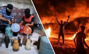 טרור ההצתות מרצועת עזה (עיבוד: פלאש 90)