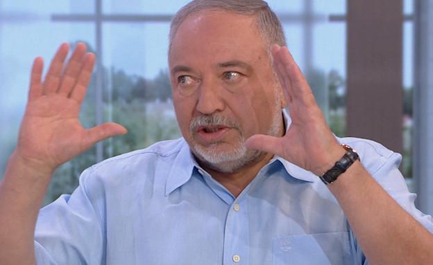 """אביגדור ליברמן על האש בדרום והמשבר הפוליטי (צילום: מתוך """"חדשות הבוקר"""" , קשת 12)"""