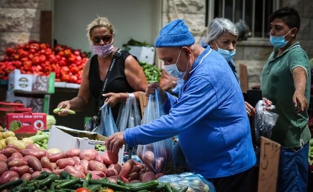 קורונה בישראל, שוק בצפת (צילום: דוד כהן, פלאש 90)