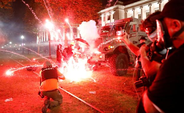 מחאה בוויסקונסין (צילום: רויטרס)