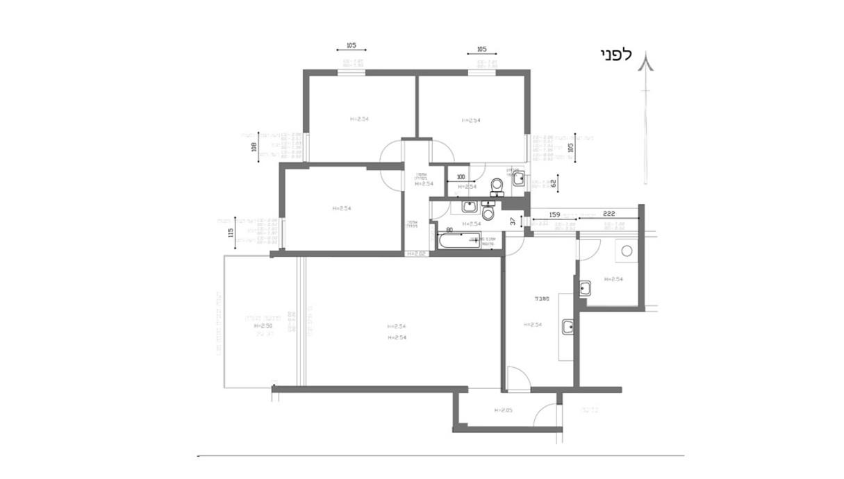 דירה בתל אביב, עיצוב נועה סביר, תוכנית אדריכלית, לפני שיפוץ
