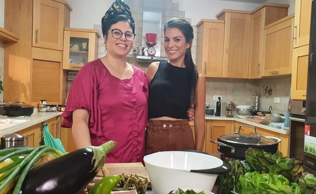 מיטל טרבלסי ויערה דרור (צילום: מתוך אמהות מבשלות ביחד, ערוץ 24 החדש)